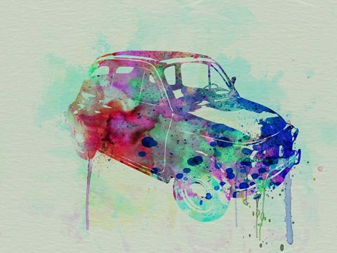 Framed Fiat 500 Watercolor Print