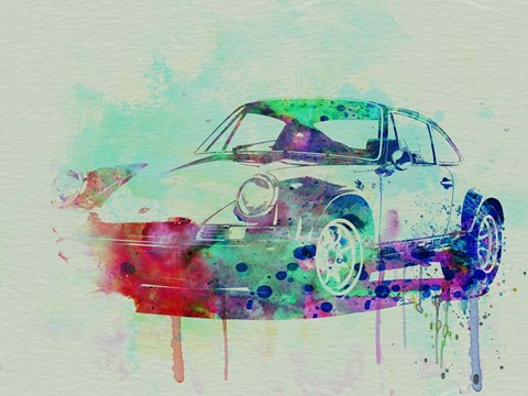 Framed Porsche 911 Watercolor 2 Print