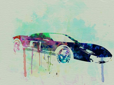 Framed Ford GT Watercolor 2 Print