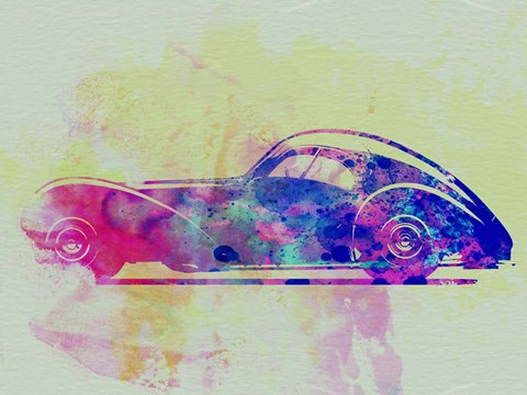 Framed Bugatti Atlantic Watercolor 3 Print
