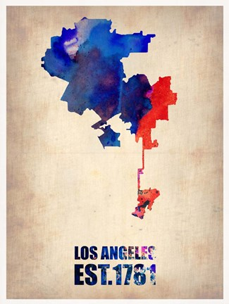 Framed Los Angeles Watercolor Map 1 Print