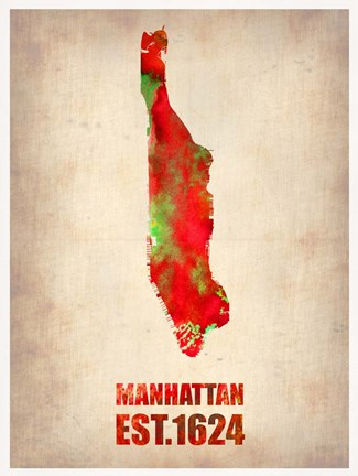 Framed Manhattan Watercolor Map Print