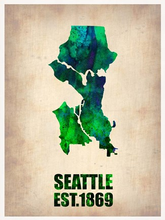 Framed Seattle Watercolor Map Print