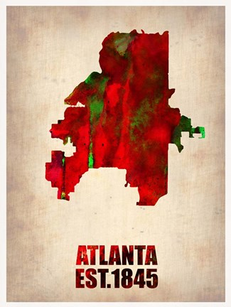 Framed Atlanta Watercolor Map Print