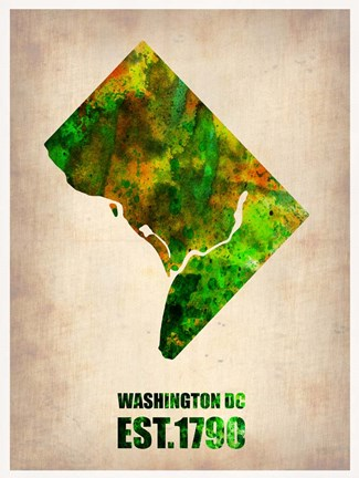 Framed Washington DC Watercolor Map Print