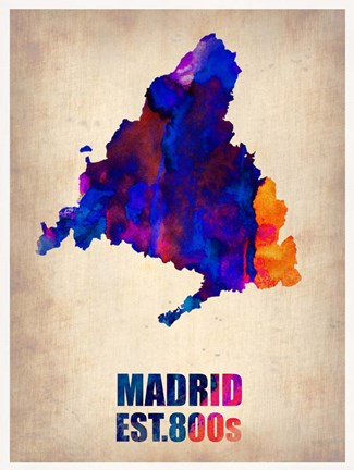 Framed Madrid Watercolor Map Print