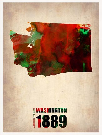 Framed Washington Watercolor Map Print