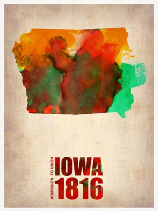 Framed Iowa Watercolor Map Print