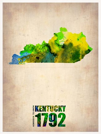Framed Kentucky Watercolor Map Print