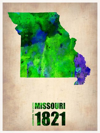 Framed Missouri Watercolor Map Print