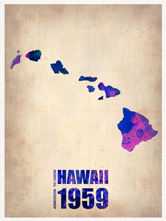 Framed Hawaii Watercolor Map Print