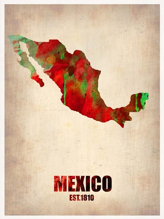 Framed Mexico Watercolor Map Print