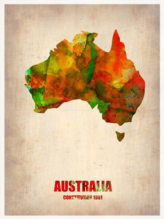 Framed Australia Watercolor Map Print