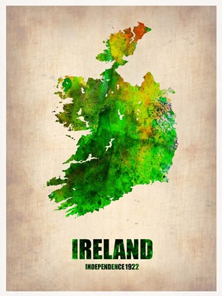 Framed Ireland Watercolor Map Print