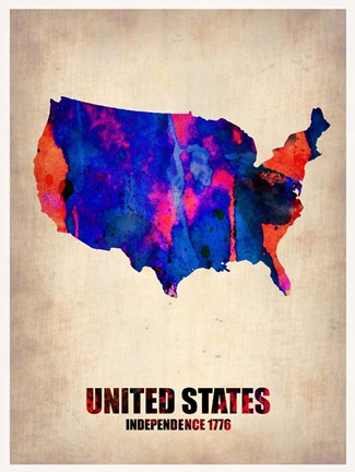 Framed USA Watercolor Map 1 Print