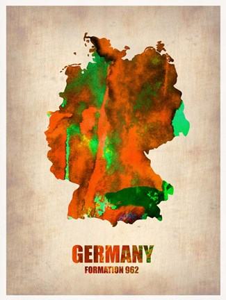 Framed Germany Watercolor Map Print