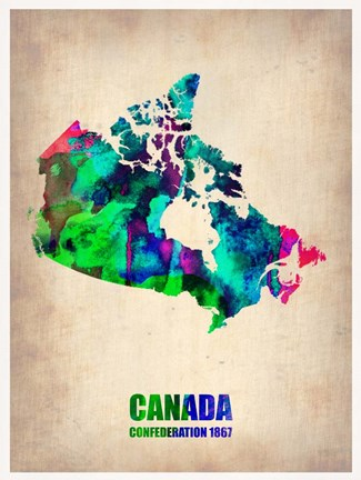 Framed Canada Watercolor Map Print