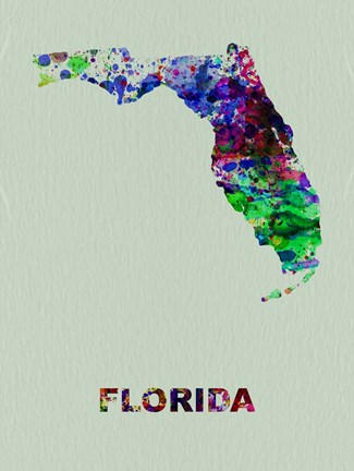 Framed Florida Color Splatter Map Print