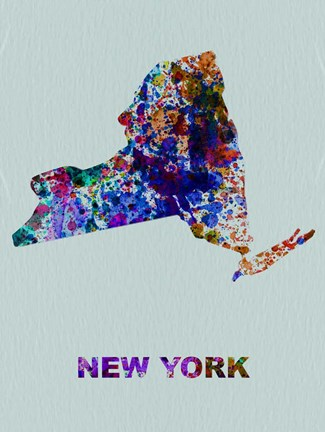Framed New York Color Splatter Map Print