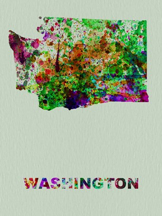 Framed Washington Color Splatter Map Print