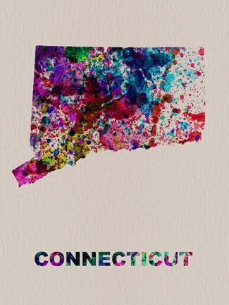 Framed Connecticut Color Splatter Map Print