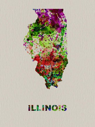 Framed Illinois Color Splatter Map Print