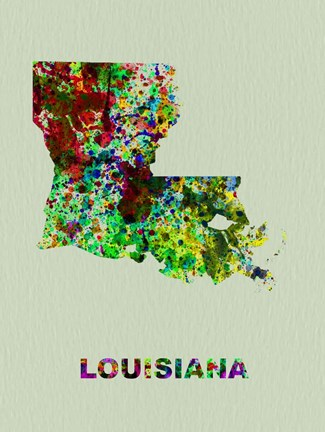 Framed Louisiana Color Splatter Map Print