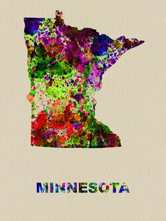 Framed Minnesota Color Splatter Map Print