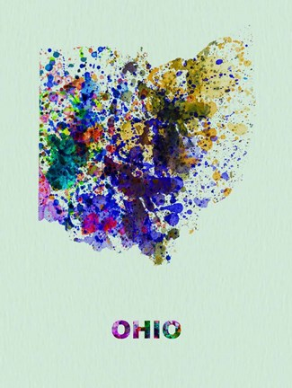 Framed Ohio Color Splatter Map Print