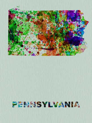 Framed Pennsylvania Color Splatter Map Print