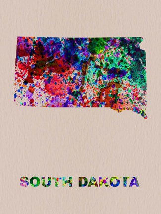 Framed South Dakota Color Splatter Map Print