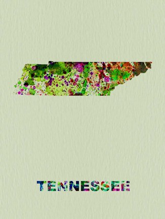 Framed Tennessee Color Splatter Map Print