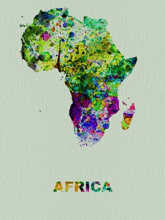 Framed Africa Color Splatter Map Print