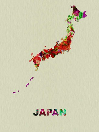 Framed Japan Color Splatter Map Print