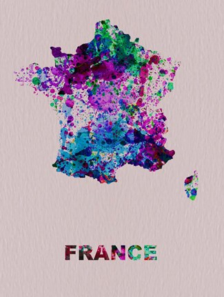 Framed France Color Splatter Map Print