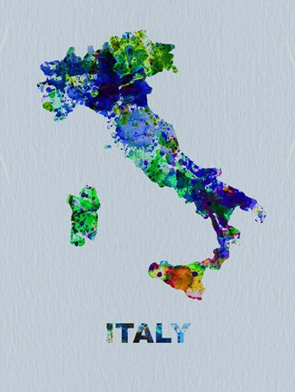 Framed Italy Color Splatter Map Print