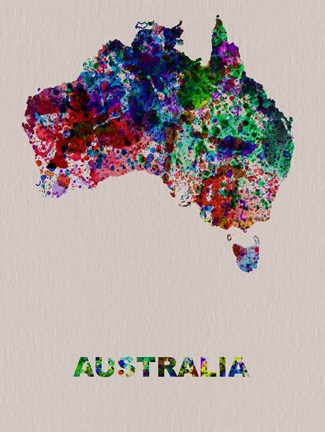 Framed Australia Color Splatter Map Print