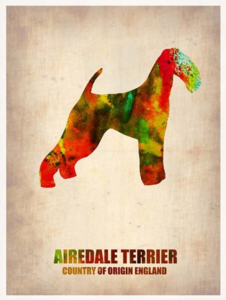 Framed Airedale Terrier Print