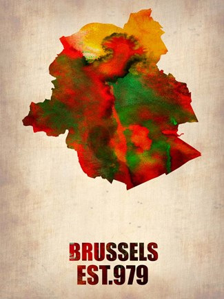 Framed Brussels Watercolor Map Print