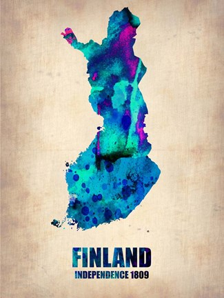 Framed Finland Watercolor Print