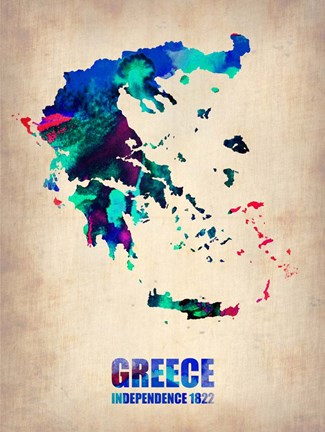 Framed Greece Watercolor Print