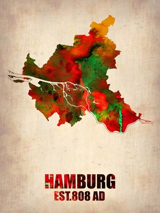 Framed Hamburg Watercolor Map Print