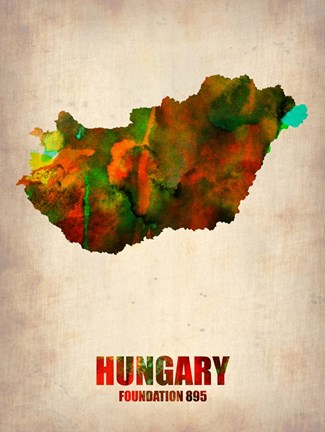 Framed Hungary Watercolor Print