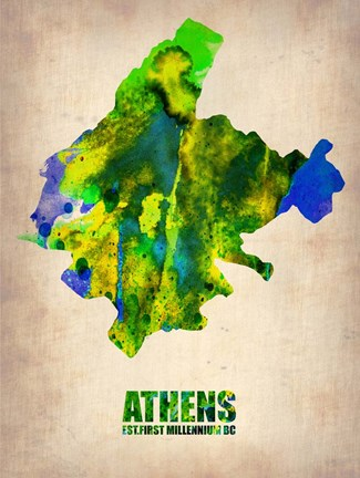 Framed Athens Watercolor Print