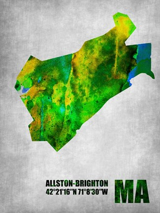 Framed Allston-Brighton Massachusetts Print