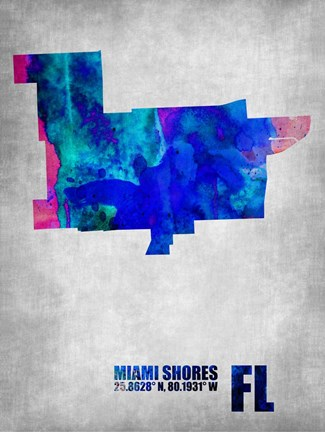 Framed Miami Shores Florida Print