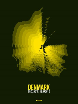 Framed Denmark Radiant Map 1 Print