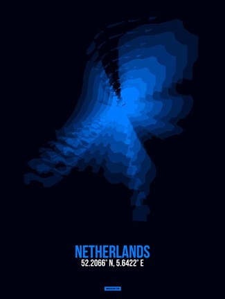 Framed Netherlands Radiant Map 1 Print