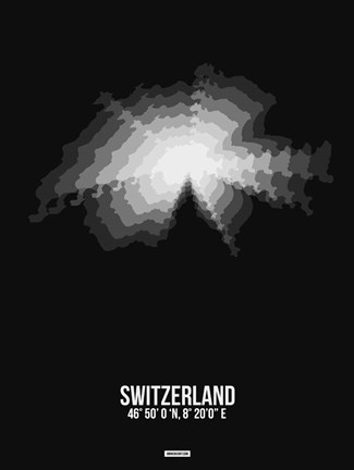 Framed Switzerland Radiant Map 4 Print