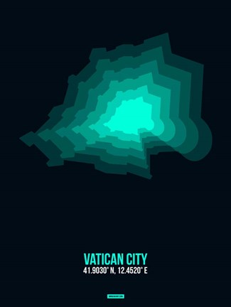 Framed Vatican City Radiant Map 3 Print